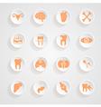 Body icons button shadows set vector
