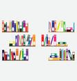 Books on shelves vector