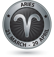 Aries zodiac silver sign aries symbol vector