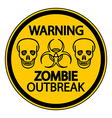 Road sign warning zombie outbreak vector