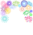 Colorful fireworks frame on white background vector