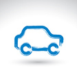 Hand drawn blue car icon brush drawing passenger vector