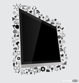 Computer display with application icon vector