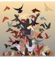 Flock of pigeons vector