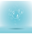 Blue soap bubbles on white background vector