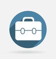 Circle blue icon with shadow briefcase vector