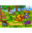 Cartoon insects on nature rural scene vector