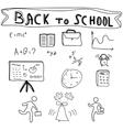 Back to school supplies sketchy doodles vector