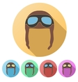 Set flat icons of retro aviator pilot helmet with vector