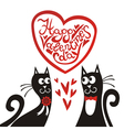 Valentines day card cats heart vector