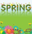 Flowers spring season background with grass font vector