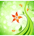 Abstract flower background with butterflies vector