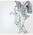Young couple having fun sketch vector
