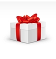 White gift box with bright red ribbon isolated vector
