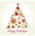 Stylized christmas tree shaped card with snowflake vector