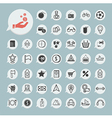 Shopping and tourism icon set on blue paper vector