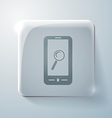 Smartphone magnifying glass glass square icon vector