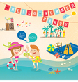 Summer cartoon elements on beach background vector