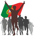 Winner with the portugal flag at the finish vector