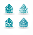 City buildings silhouette icons vector
