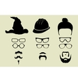 Set of glasses mustache and hats vector