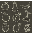 Set of fruits fruit applepear banana orange plum vector