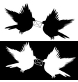 Monochrome silhouette of two doves with a letter vector