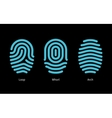 Thumbprint types on black background vector