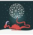 Cute dragon christmas card vector