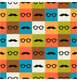 Seamless background of glasses and mustache vector