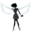 Silhouette of a young woman with angel wings vector