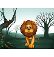 A lion in a scary forest vector