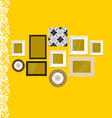 Vintage frames on yellow wall vector