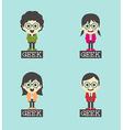 Geek cartoon character set vector