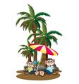 Monkeys under the coconut trees vector