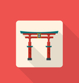 Flat style japan gate torii icon with shadow vector