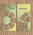 Greeting cards with lace hand-drawn ornament vector