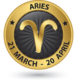 Aries zodiac gold sign aries symbol vector