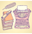 Cute writter set vector