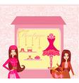Stylish girls shopping vector