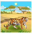 African landscape with tiger vector