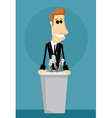 Cartoon office worker in a podium vector