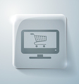 Glass square icon monitor with shopping cart vector
