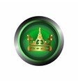 Crown icon gold isolated on green glossy backgrou vector