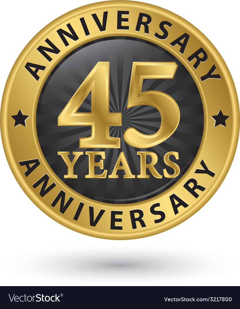 45 years anniversary gold label vector | Price: 1 Credit (USD $1)