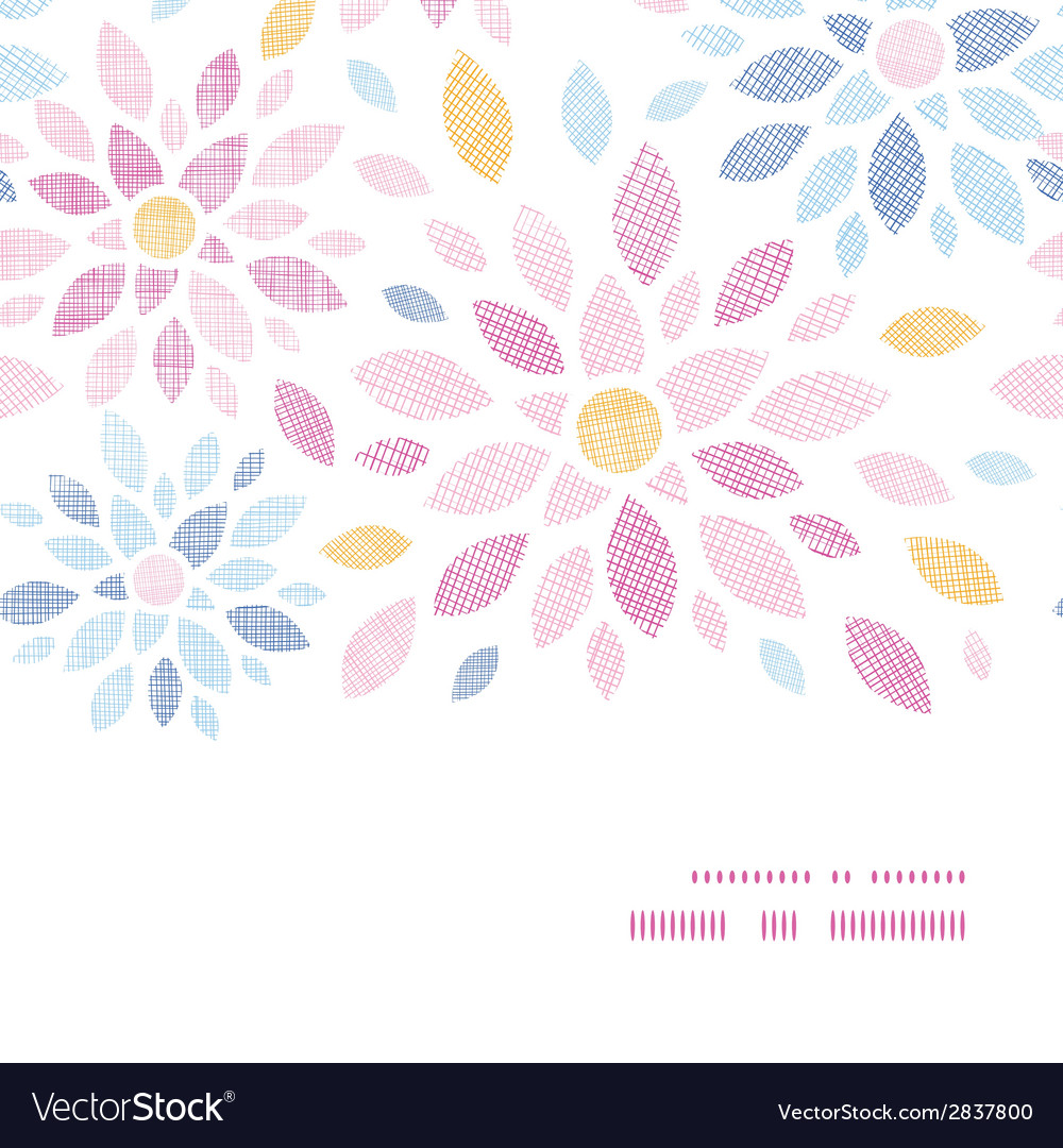 Abstract textile colorful flowers horizontal frame vector | Price: 1 Credit (USD $1)