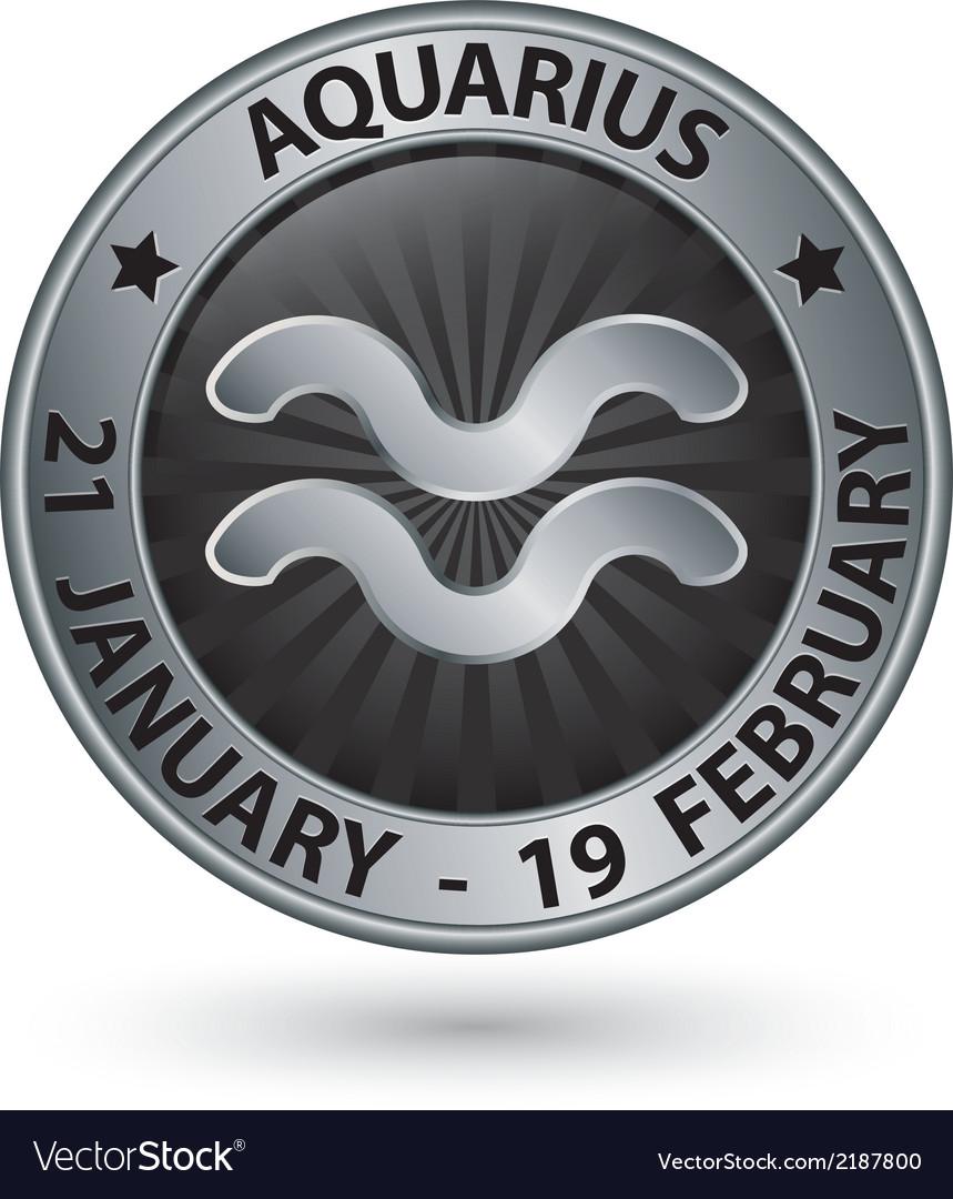Aquarius zodiac silver sign virgo symbol vector | Price: 1 Credit (USD $1)
