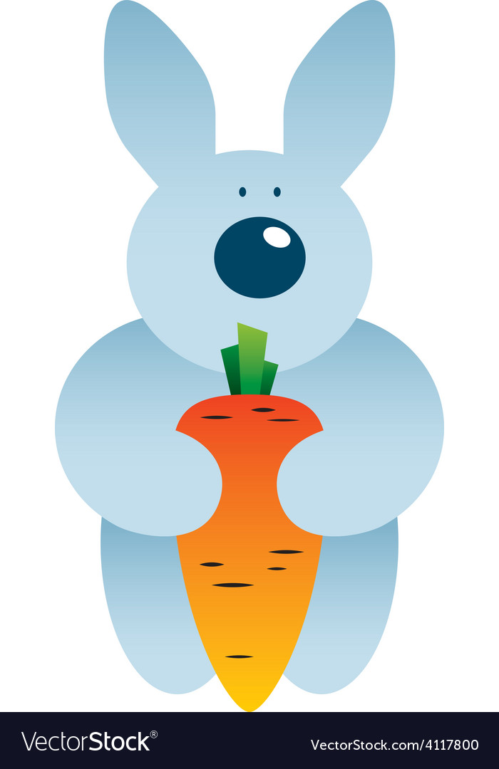 Cartoon hare and carrot vector | Price: 1 Credit (USD $1)