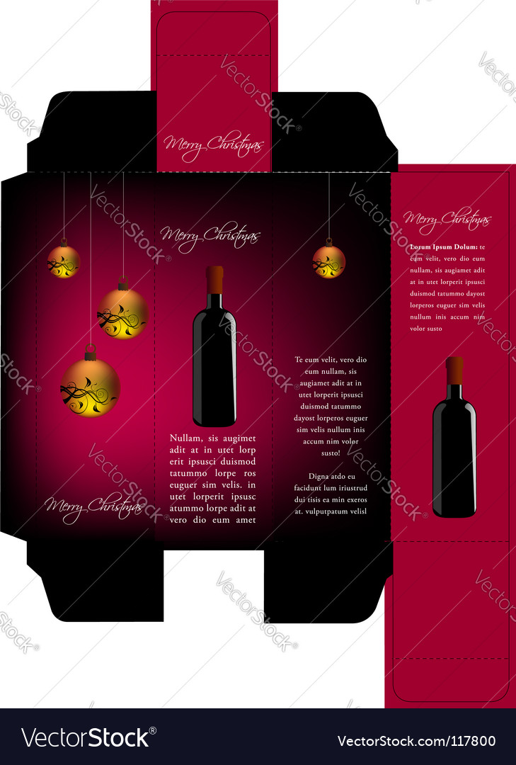 Christmas wine package vector | Price: 1 Credit (USD $1)
