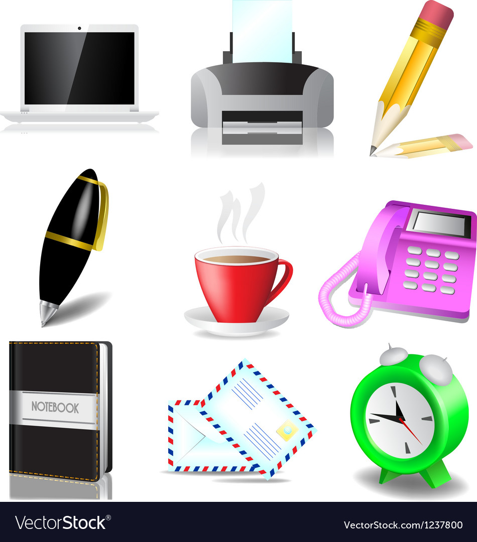 Office and document icon set vector | Price: 1 Credit (USD $1)